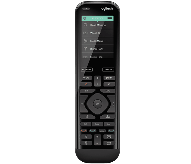 Photo of the Logitech Harmony Elite showing the button layout and ergonomics of the remote.